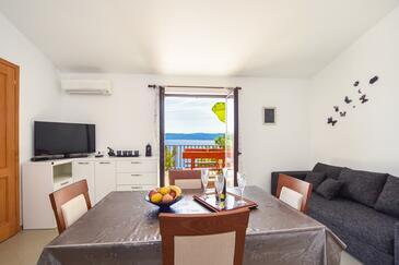 Marušići, Jídelna v ubytování typu apartment, s klimatizací, domácí mazlíčci povoleni a WiFi.