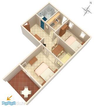 Baška Voda, Plan in the apartment, dopusteni kucni ljubimci i WIFI.