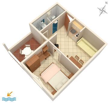 Baška Voda, Půdorys v ubytování typu apartment, domácí mazlíčci povoleni a WiFi.