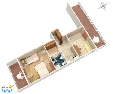 Pisak, Plan dans l'hébergement en type apartment, WiFi.