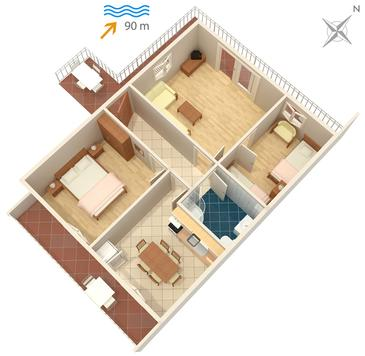 Mastrinka, plattegrond in the apartment, WiFi.
