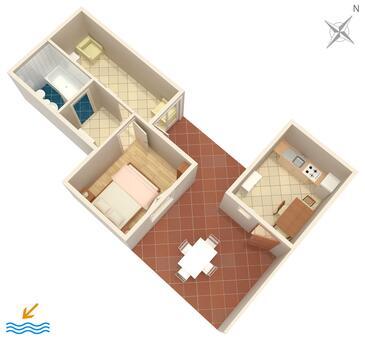 Pisak, Půdorys v ubytování typu apartment, domácí mazlíčci povoleni a WiFi.