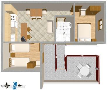 Pisak, Grundriss in folgender Unterkunftsart apartment, WiFi.