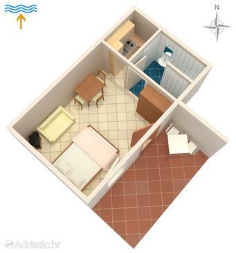 Drače, План в размещении типа studio-apartment, Домашние животные допускаются и WiFi.