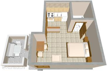 Pisak, Plan in the studio-apartment.