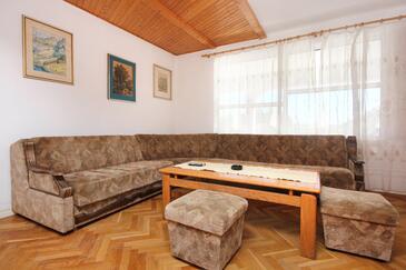 Orebić, Pokój dzienny w zakwaterowaniu typu apartment, Dostępna klimatyzacja i WiFi.