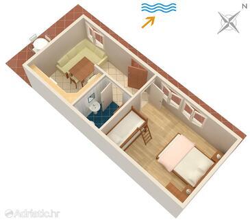 Zavode, Plan in the apartment, dopusteni kucni ljubimci i WIFI.