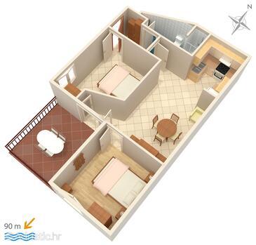 Stanići, Plan dans l'hébergement en type apartment, WiFi.