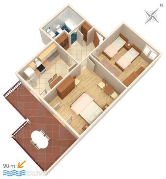 Stanići, Grundriss in folgender Unterkunftsart apartment, WiFi.