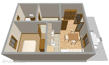 Vrboska, Plan in the apartment.