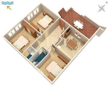Stanići, Plan dans l'hébergement en type apartment, animaux acceptés et WiFi.