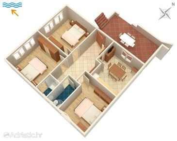 Stanići, Plan in the apartment, (pet friendly) and WiFi.