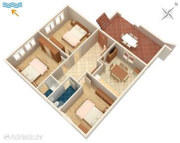 Stanići, План в размещении типа apartment, Домашние животные допускаются и WiFi.