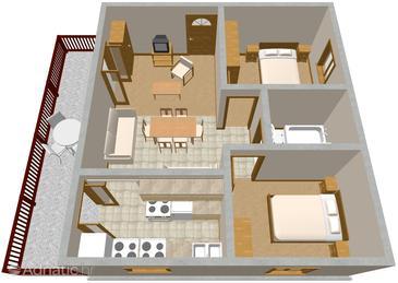 Seget Vranjica, Plan in the apartment, dopusteni kucni ljubimci.