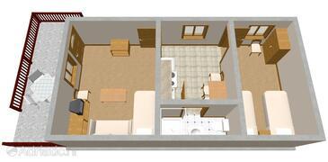 Seget Vranjica, Plan in the apartment.
