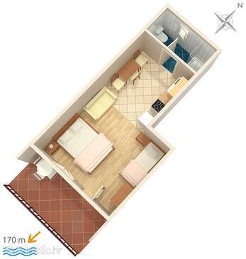Seget Vranjica, Plan in the studio-apartment.