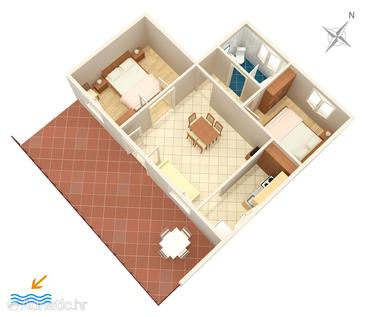 Seget Vranjica, Plan in the apartment, dopusteni kucni ljubimci i WIFI.