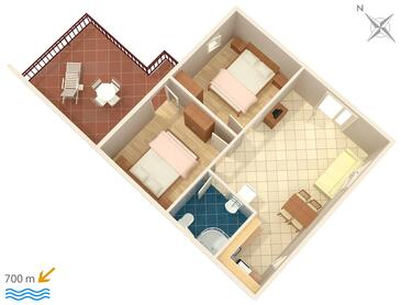 Poreč, Půdorys v ubytování typu apartment, domácí mazlíčci povoleni a WiFi.