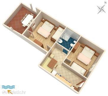 Metajna, Grundriss in folgender Unterkunftsart apartment, Haustiere erlaubt und WiFi.