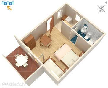 Metajna, Plan in the studio-apartment, (pet friendly) and WiFi.