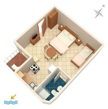 Marušići, Půdorys v ubytování typu studio-apartment, WiFi.