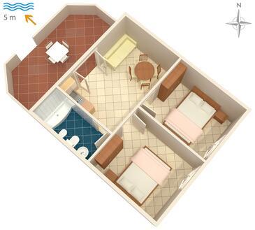 Pomena, Půdorys v ubytování typu apartment, WiFi.