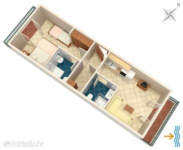 Pokrivenik, Půdorys v ubytování typu apartment, domácí mazlíčci povoleni a WiFi.
