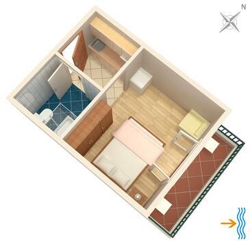 Pokrivenik, Plan in the studio-apartment, (pet friendly).