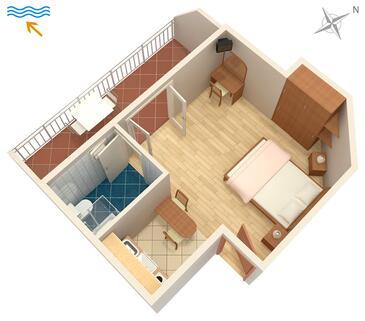 Hvar, Plan in the studio-apartment, WiFi.