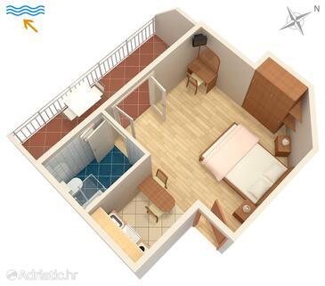 Hvar, Půdorys v ubytování typu studio-apartment, WiFi.