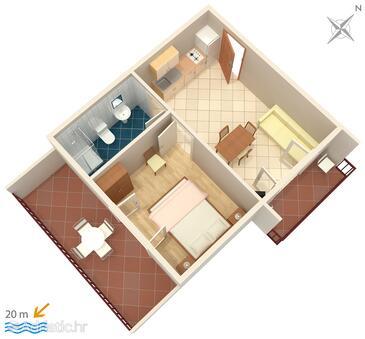 Zaostrog, Plan in the apartment, WiFi.