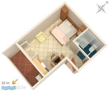 Medići, Půdorys v ubytování typu studio-apartment, WiFi.