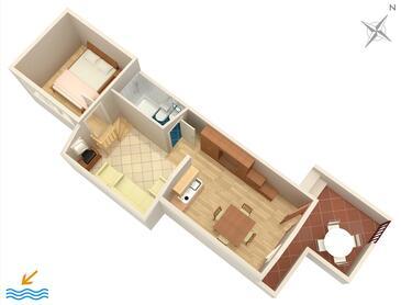 Stanići, Nacrt u smještaju tipa apartment, kućni ljubimci dozvoljeni i WiFi.