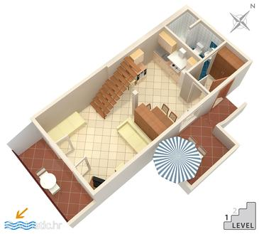 Stanići, Plan in the studio-apartment, (pet friendly) and WiFi.