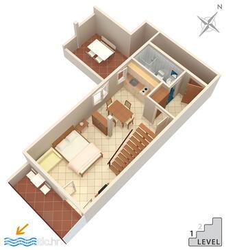Stanići, Půdorys v ubytování typu studio-apartment, domácí mazlíčci povoleni a WiFi.