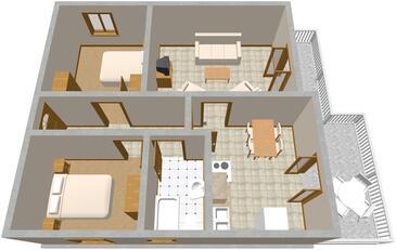 Seget Vranjica, plattegrond in the apartment, (pet friendly) en WiFi.