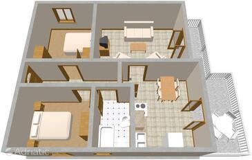 Seget Vranjica, Alaprajz szállásegység típusa apartment, háziállat engedélyezve és WiFi .