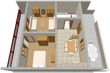 Marina, Alaprajz szállásegység típusa apartment, WiFi .