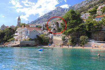 Pisak, Omiš, Objekt 1067 - Ubytování v blízkosti moře s oblázkovou pláží.