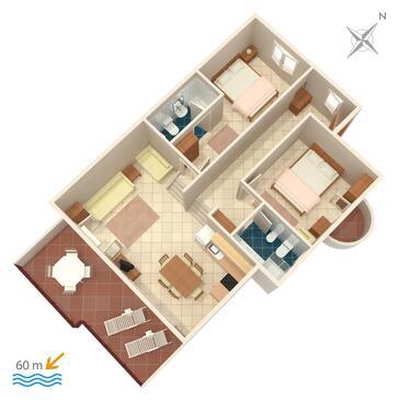 Rastići, Plan kwatery w zakwaterowaniu typu apartment, zwierzęta domowe są dozwolone i WiFi.