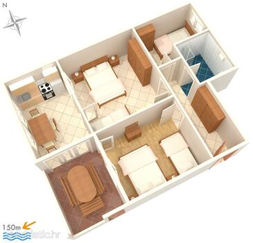 Okrug Gornji, Plan in the apartment, WIFI.