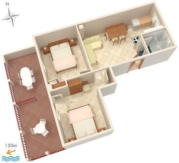 Okrug Gornji, Plan kwatery w zakwaterowaniu typu apartment, WIFI.