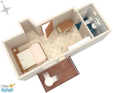 Okrug Gornji, Plan kwatery w zakwaterowaniu typu studio-apartment, WIFI.
