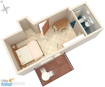 Okrug Gornji, Plan in the studio-apartment, WIFI.
