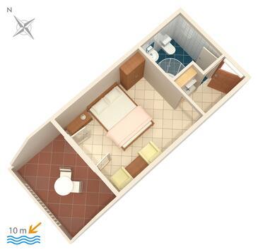 Pisak, Plan kwatery w zakwaterowaniu typu studio-apartment, dopusteni kucni ljubimci i WIFI.