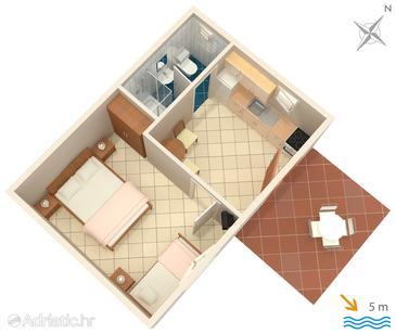 Uvala Lozna, Alaprajz szállásegység típusa apartment, dopusteni kucni ljubimci.