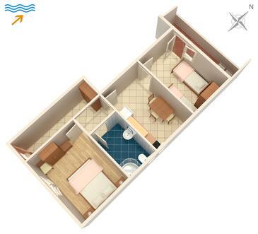 Arbanija, Plan in the apartment, WIFI.