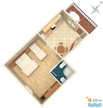 Marina, plattegrond in the studio-apartment, (pet friendly) en WiFi.