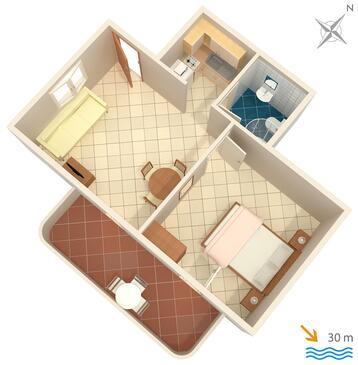 Slatine, Plan kwatery w zakwaterowaniu typu apartment, WIFI.