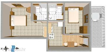 Sveta Nedilja, Půdorys v ubytování typu apartment, WIFI.